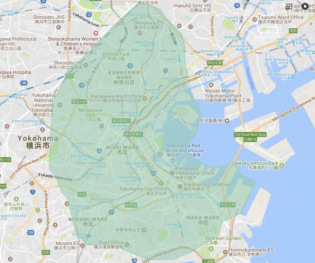横浜で利用できるエリア
