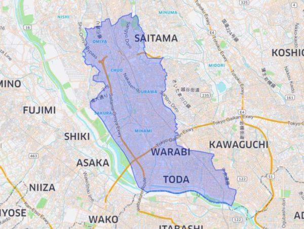 Uber Eats(ウーバーイーツ)埼玉のサービスエリアマップ