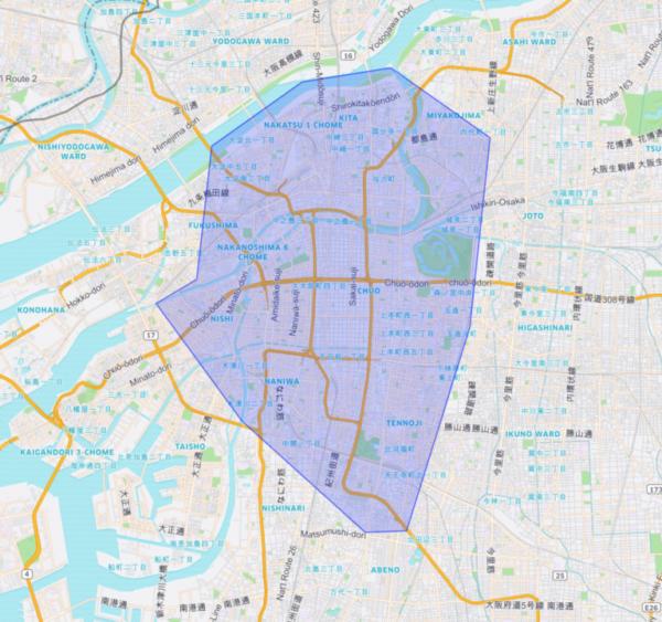 ウーバーイーツ大阪の稼働エリア詳細