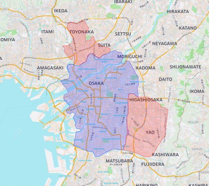 大阪のウーバーイーツ対応エリア